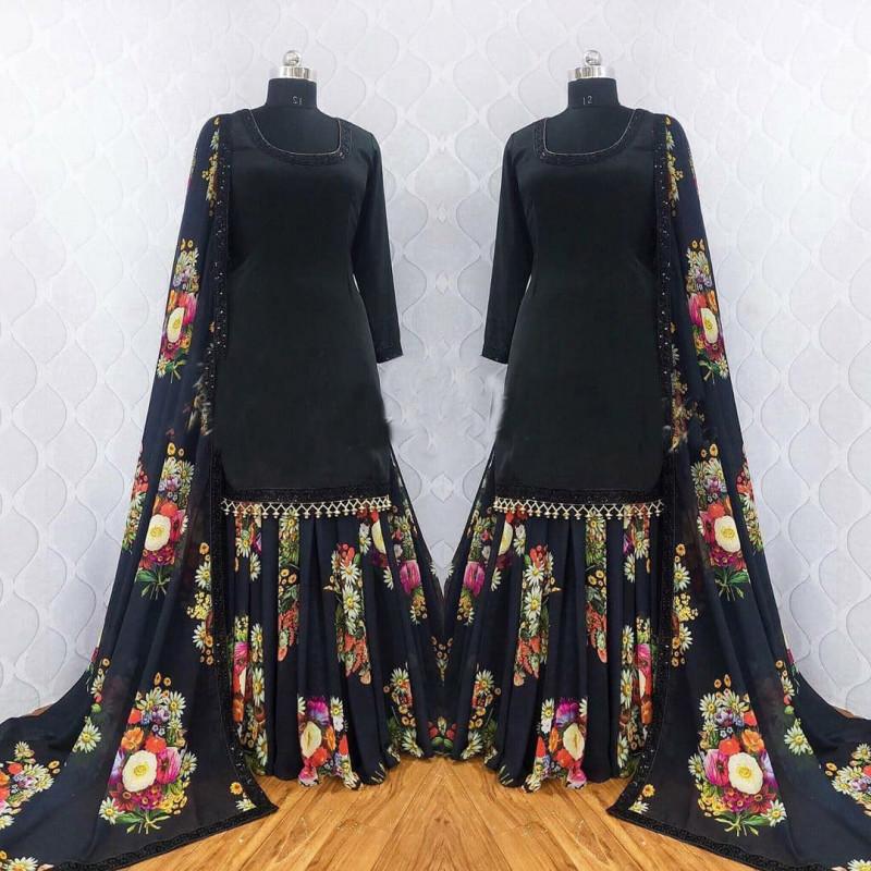 Party Wear  Heavy Georgette Black Sharara Suit