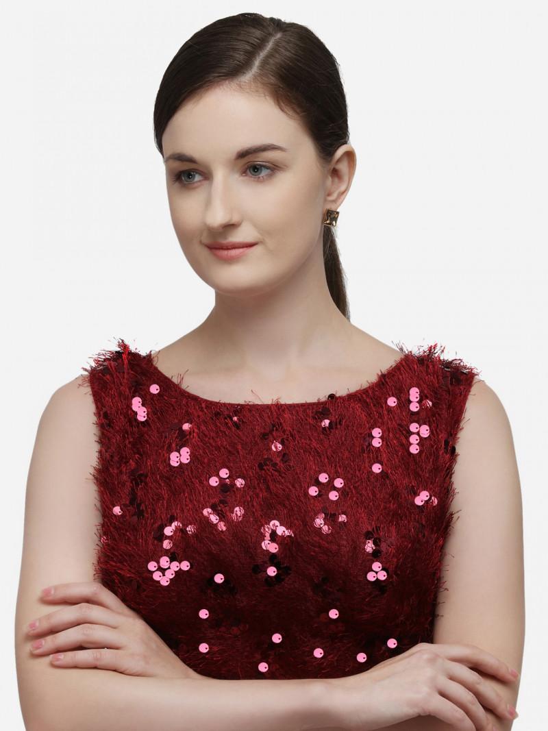 Latest Designer Sequences Red Silk Blouse