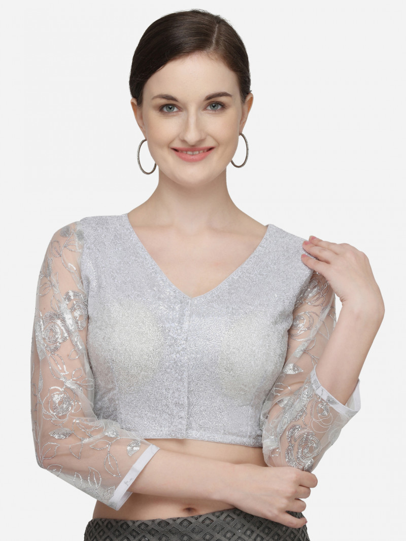 Latest White Color Sequences Net Radymade Blouse