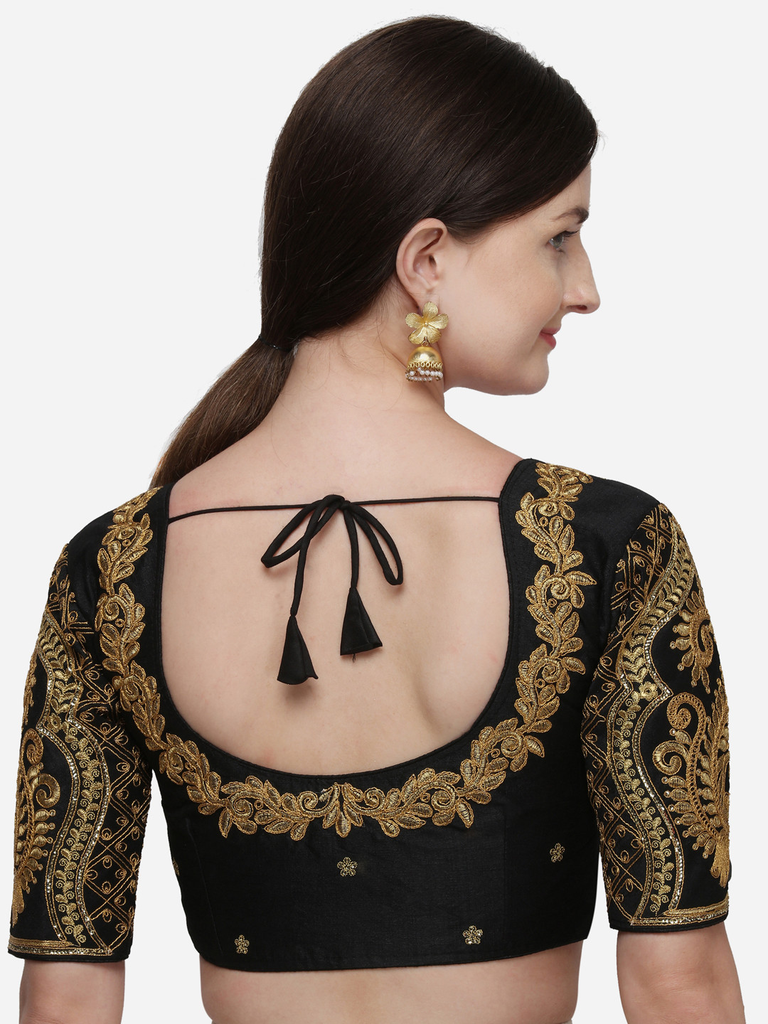 Designer Latest Embroidered And Sequines Work Black Phantom Silk Blouse