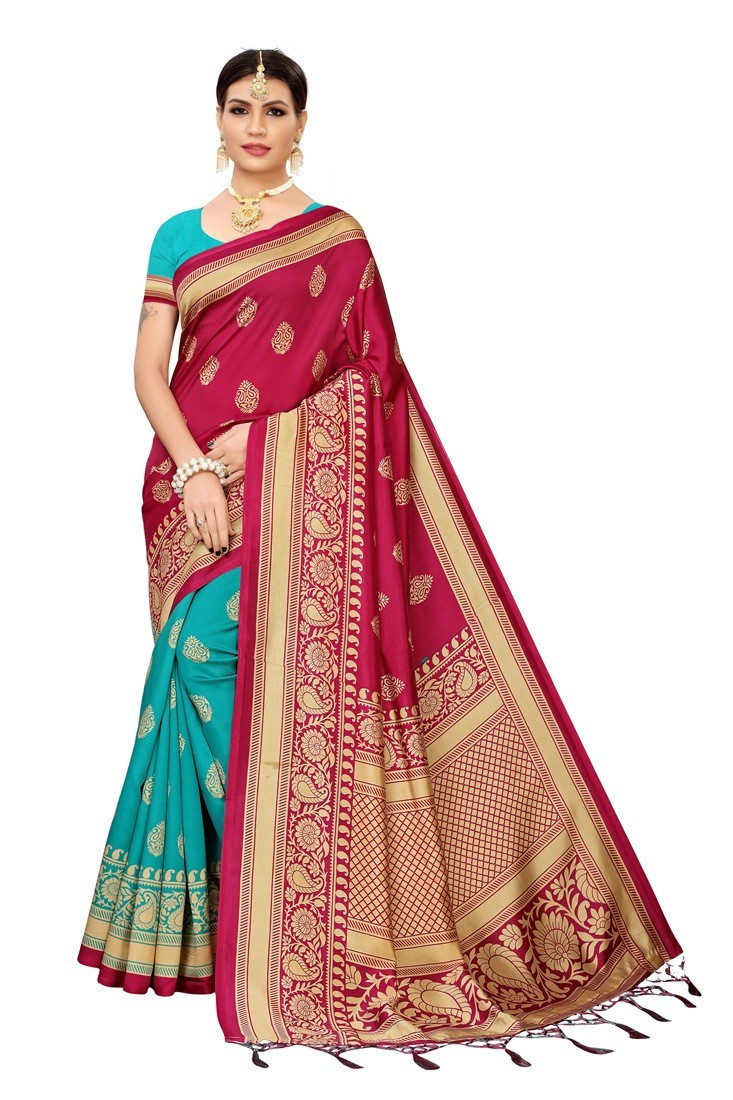 Classy Wine With Rama Color Silk Saree