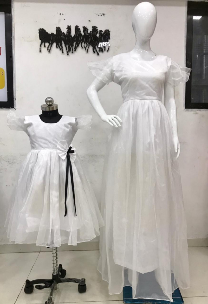 Stylish Mother Daughter Wear Fancy White Color Long Gown