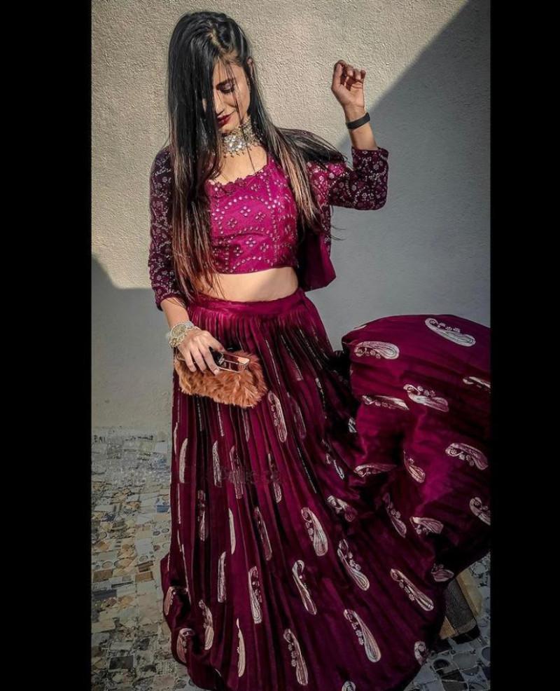 Wedding Wear Wine Color Embroidery Mirror Work Lehenga For Gilrs