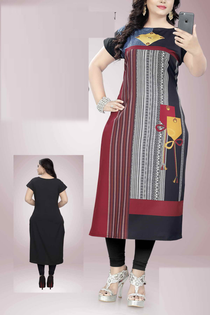 Glowing Multicolor American Crepe Printed Kurti
