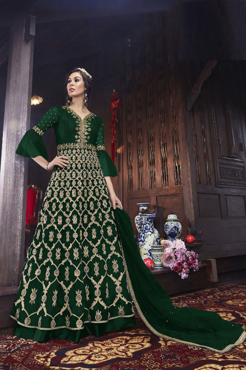 Glowing Mono Soft Net Green Embroidered Anarkali Suit