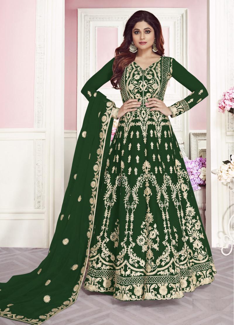 Pleasant Net Chain Stitch Work Dark Green Anarkali Dress