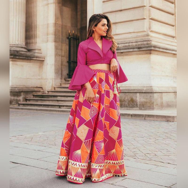 beautiful rani color crop top lehenga suit