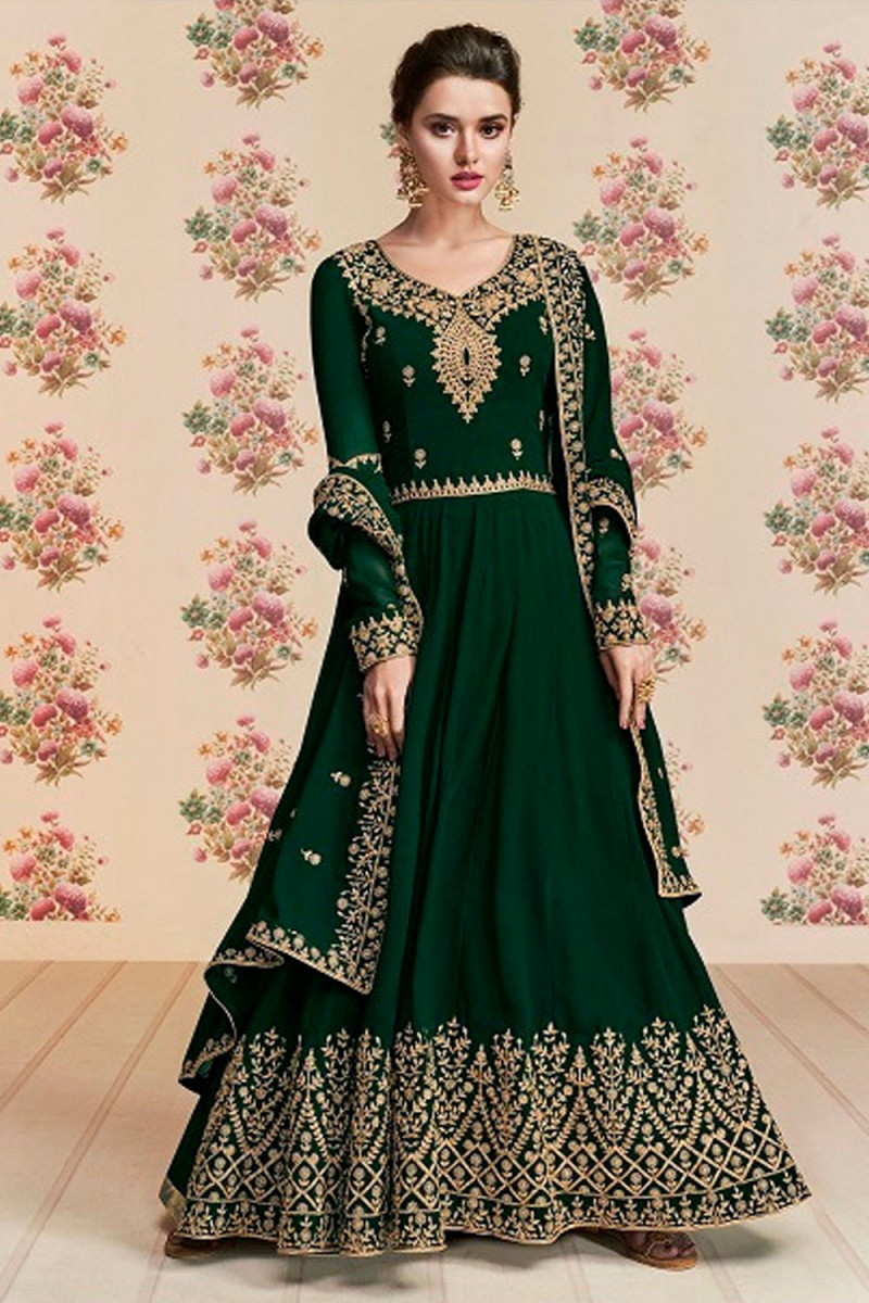 Delightful Georgette Hand Work Green Color Gown