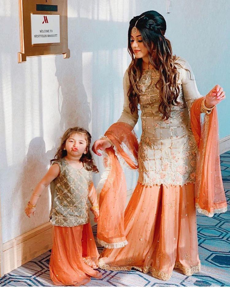 Mother Daughter Silk Embroidery Work Orange Color Palazzo suit