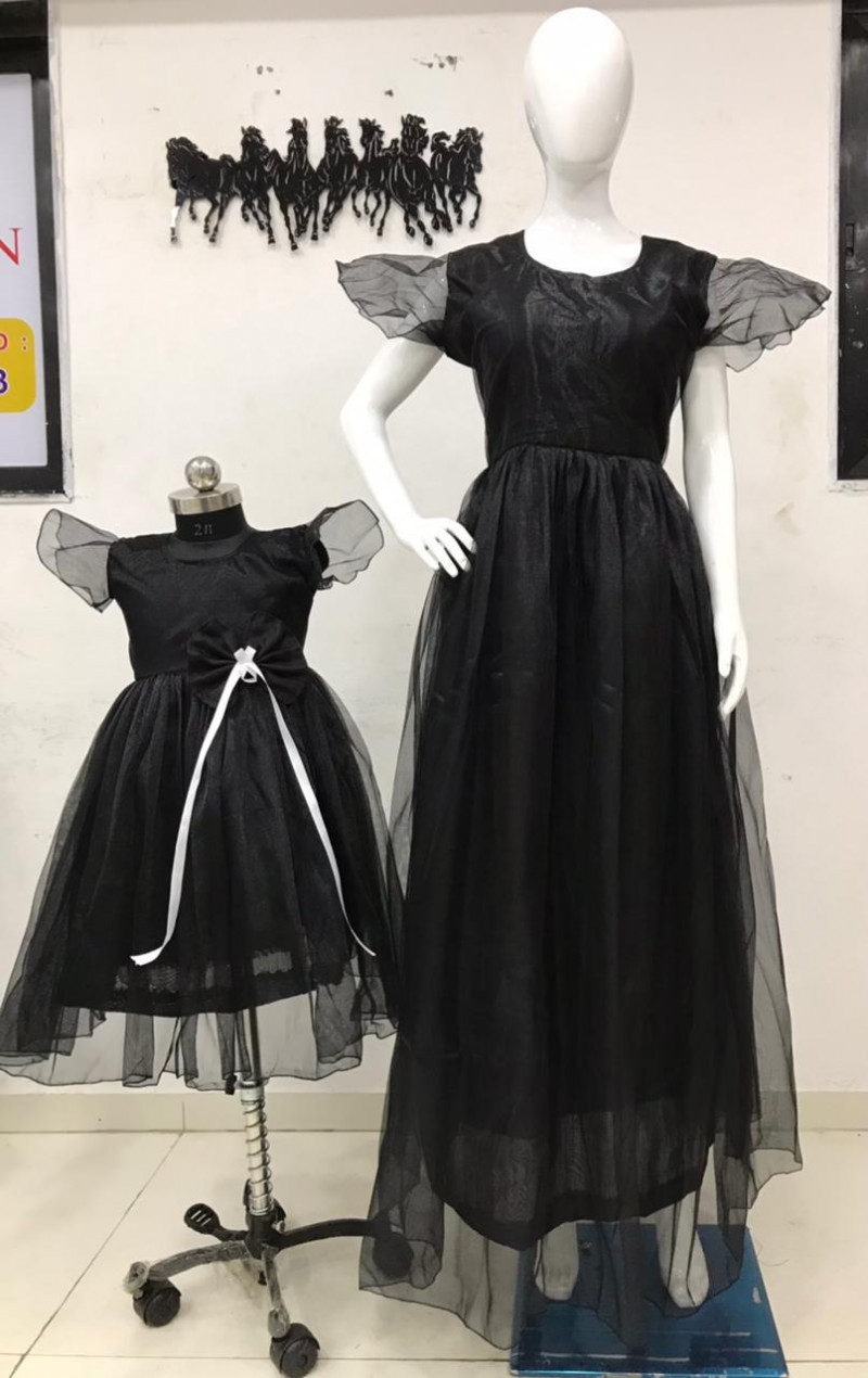 Latest Trendy Black Colour Mother Daughter Long Gown