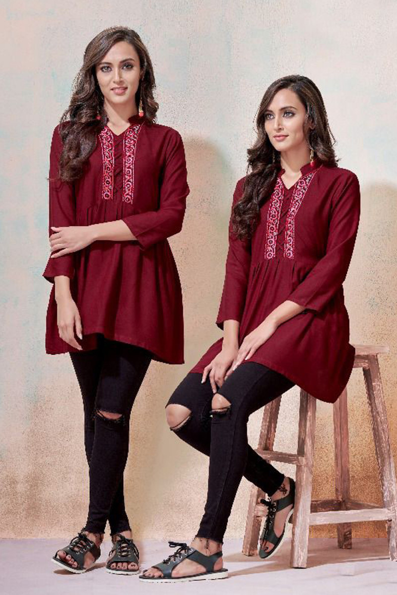 Imposing  Rayon Fabric Embroidered Short Tops&Tunics