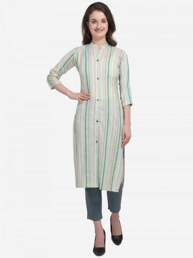 Peacefull  Pista Colour Colour Kurti