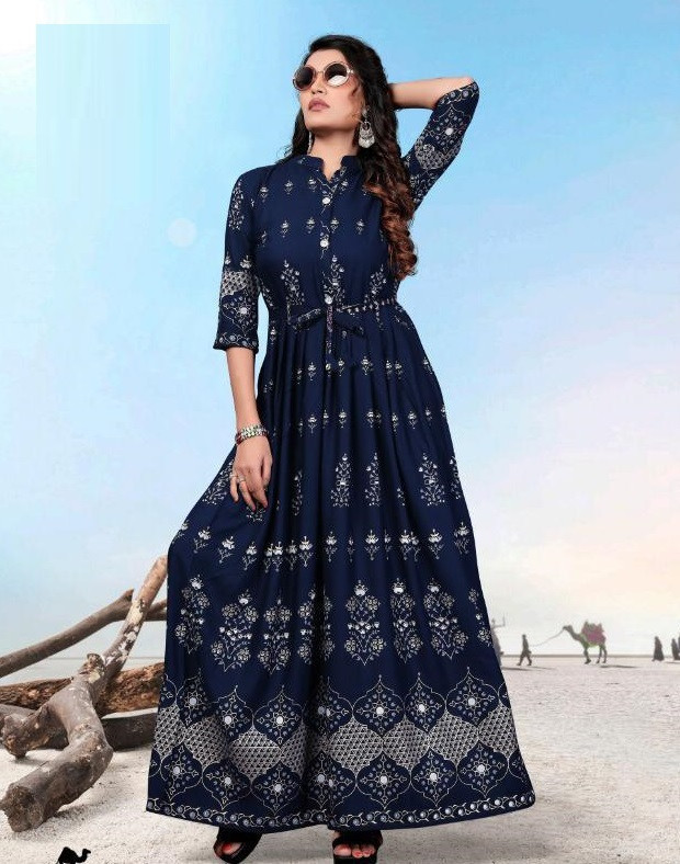 Trendy Navy Blue Heavy Printed Kurti