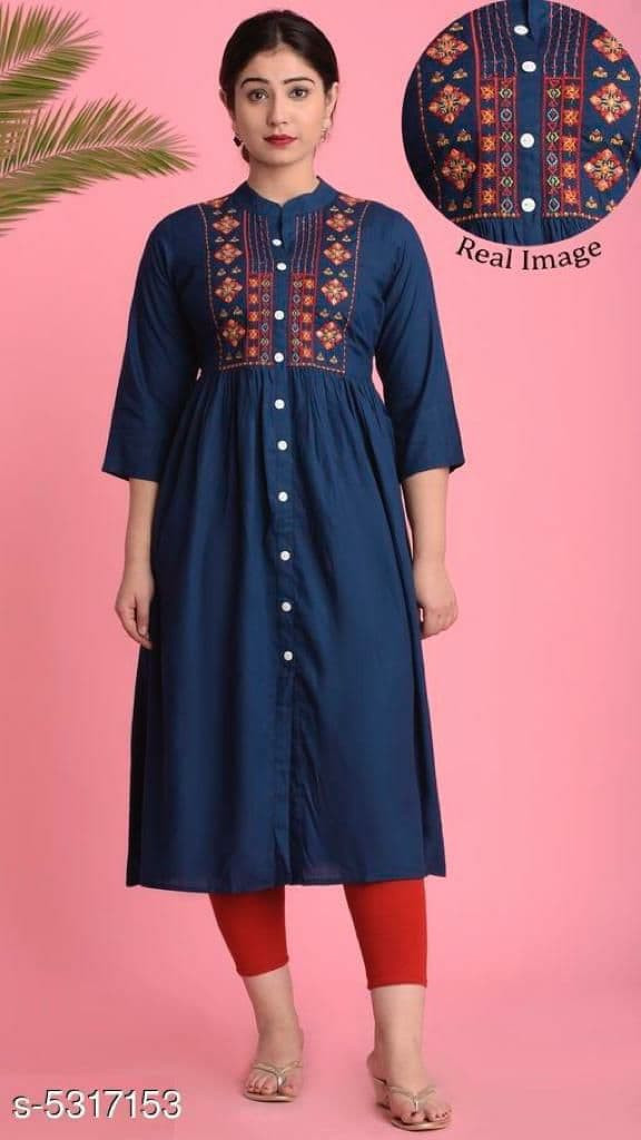 Stylee Lifestyle Neck Embroidery Blue Rayon Kurti online available