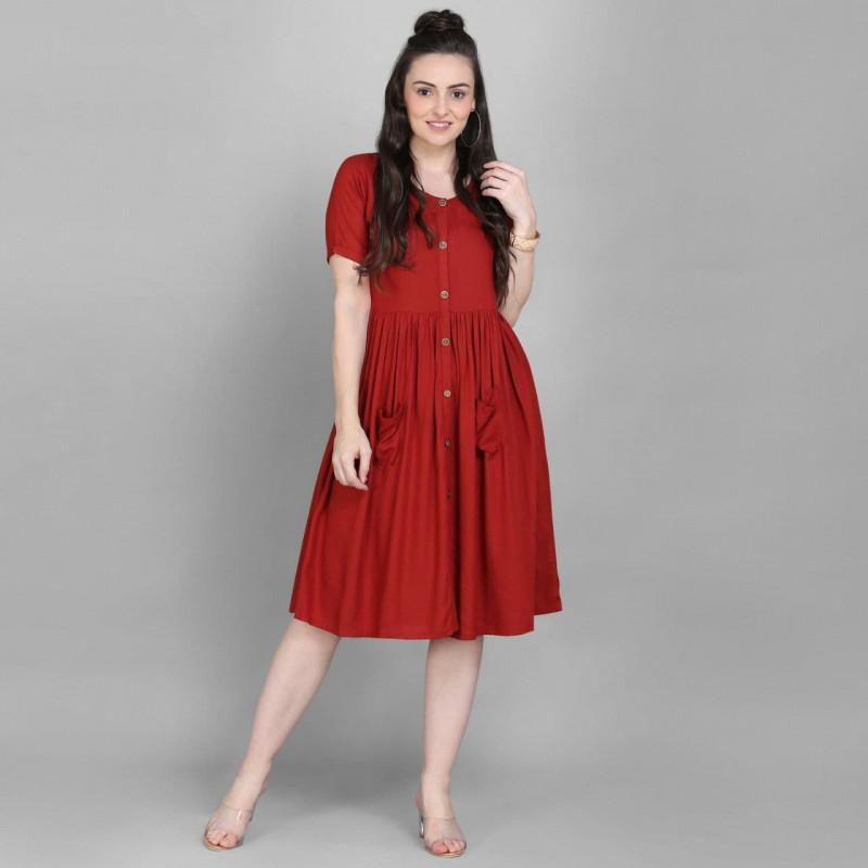 Wonderful Red Rayon Stitched Kurti online available