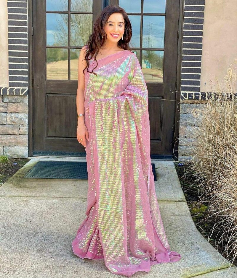 Latest Design Butter Fly Net Pink Color Sequin Saree