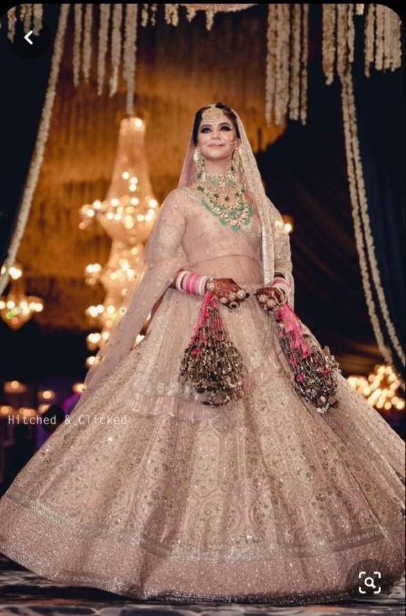 Flattering Cream Colour  Bridal Wear LEhenga Choli