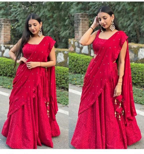 Delightful Red Colour  Lehenga Choli