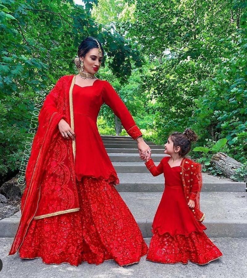 Adoring Designer Red Color Mother Daughter Sharara Suit