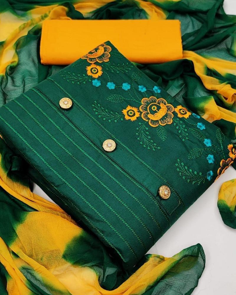 Designer Green Embroidery Work Dress Material
