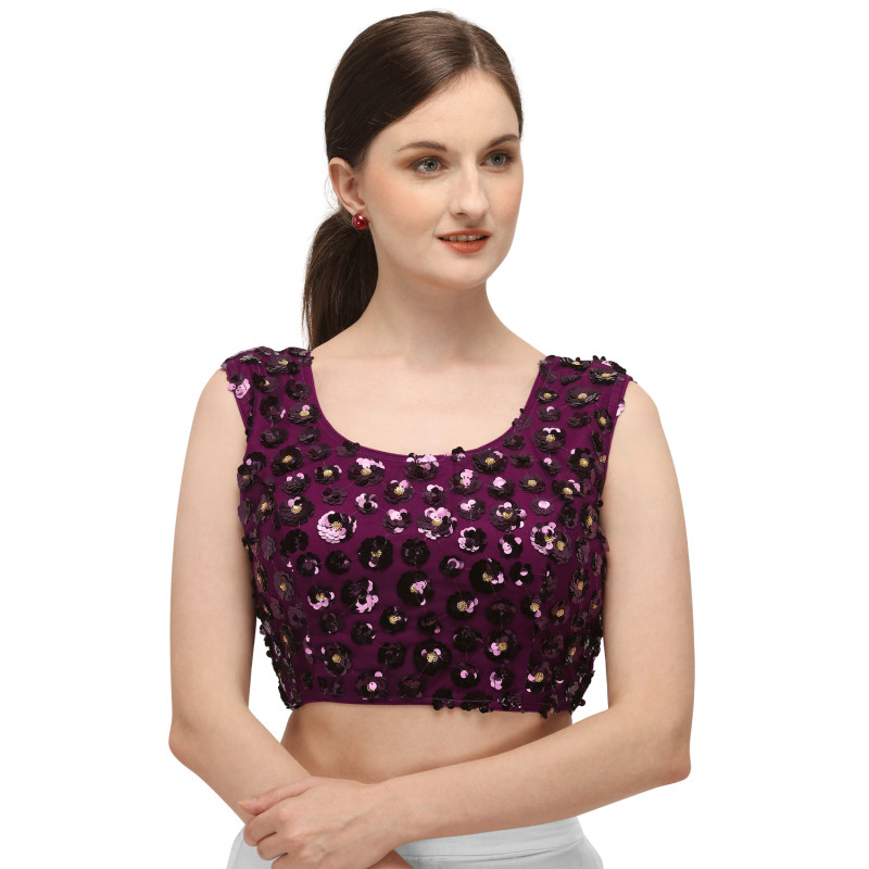 Wine Embroidered Sequences Work Latest Blouse