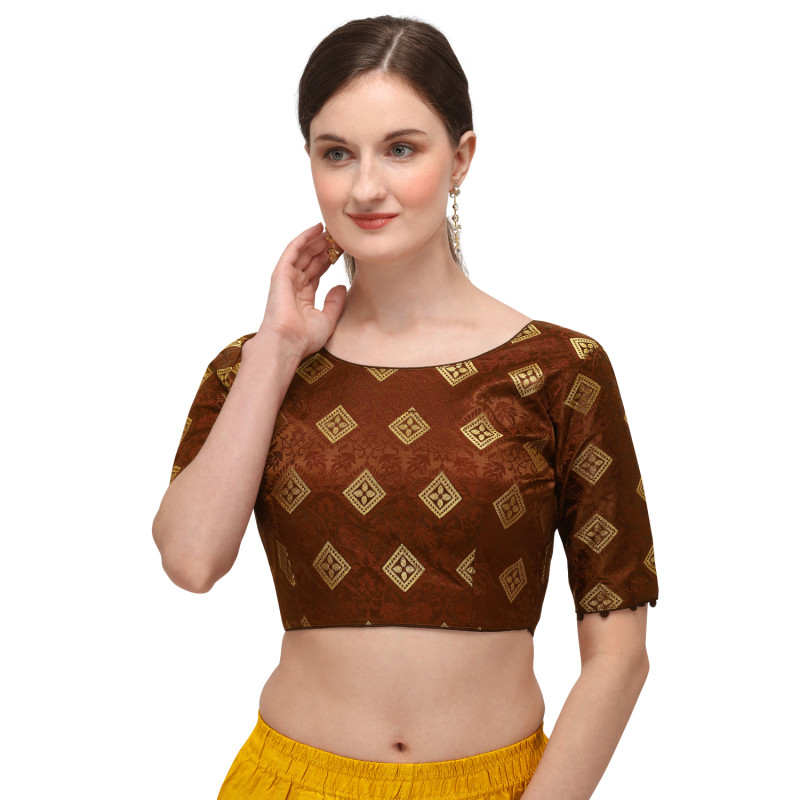 Designer Brown Color Printed Readymade Blouse