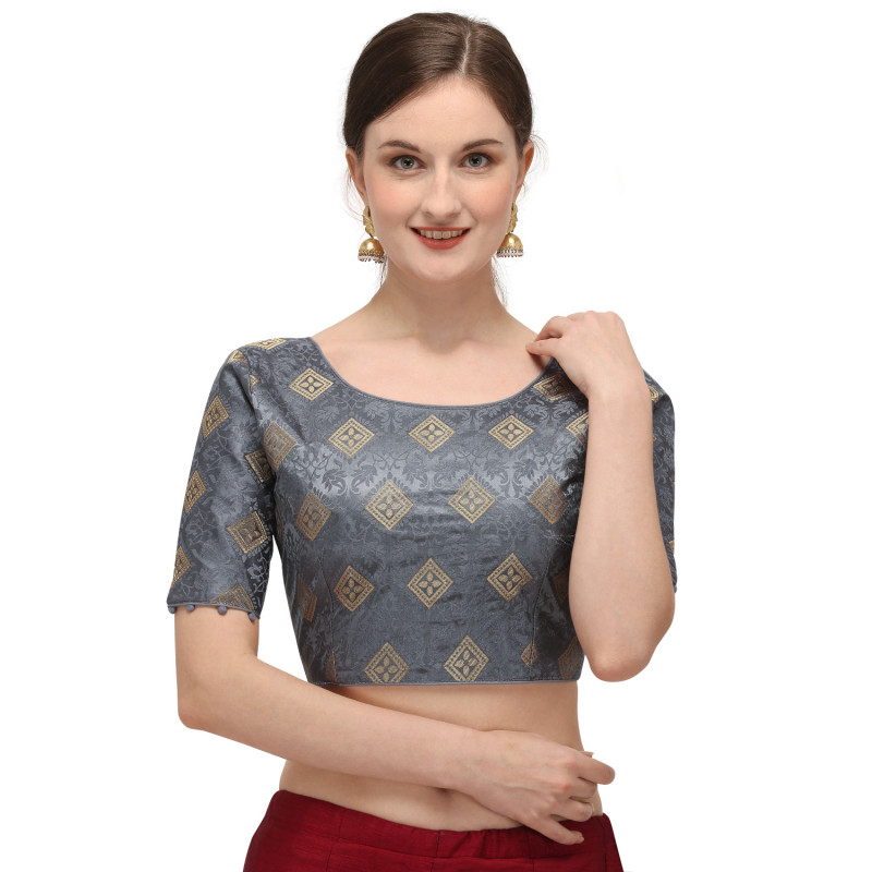 Latest Grey Color Printed Readymade Blouse