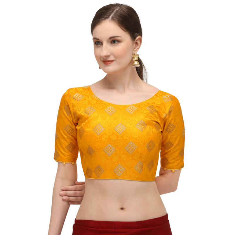Designer Yellow Color Printed Readymade Blouse