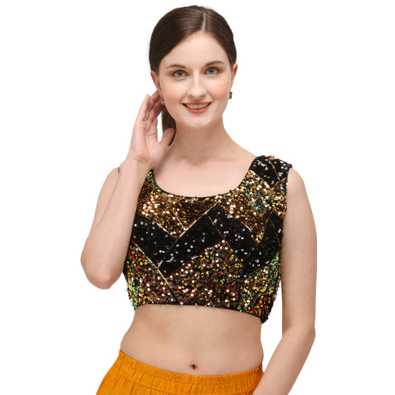 Latest Embroidery Sequin Work Black Blouse