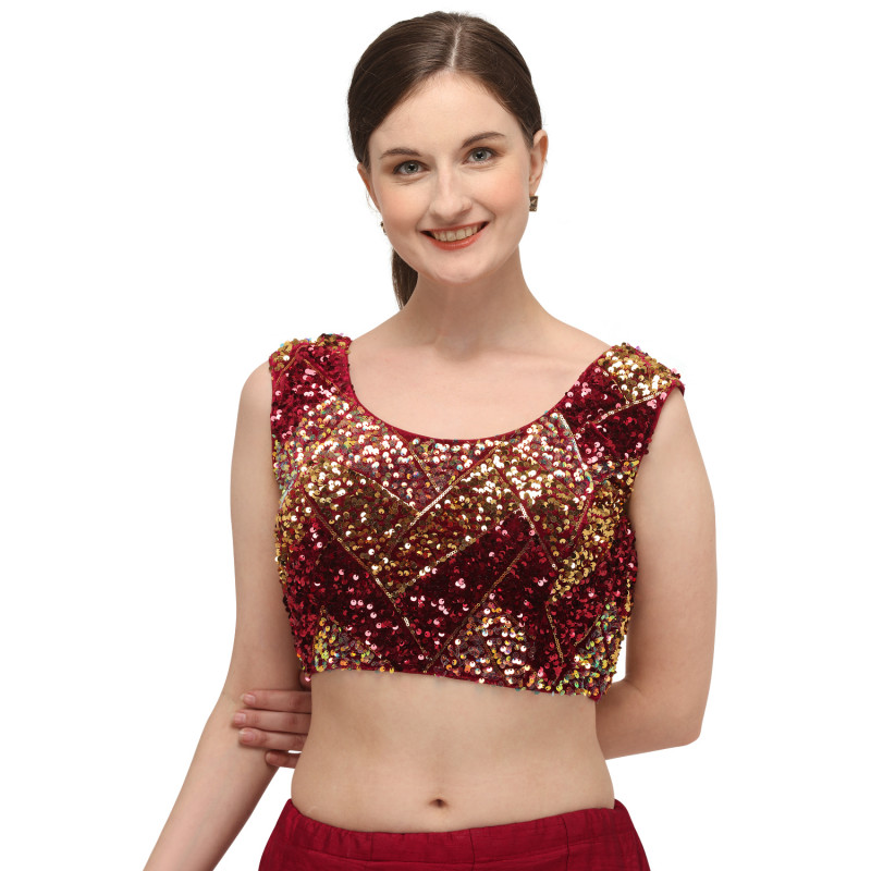 Latest Embroidery Sequin Work Red Blouse