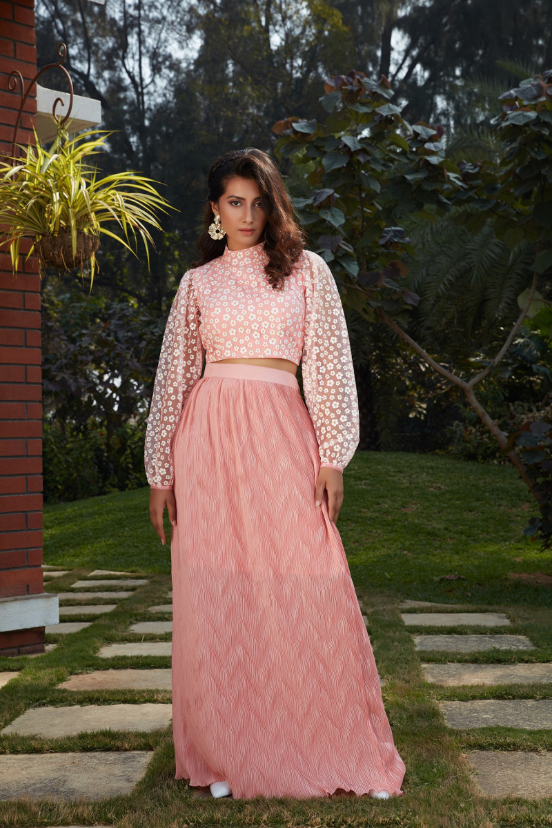 Stylish Pink Color Ready To Wear Indo Western