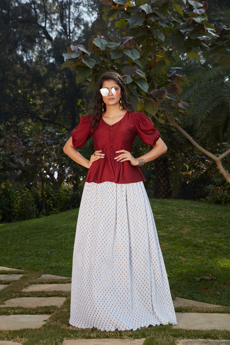 Refreshing Maroon With White Color Ready To Wear Indo Western