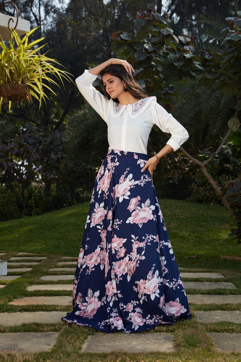 Party Wear White And Navy Blue Color  Lehenga Choli