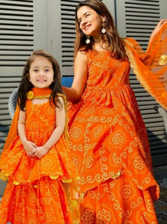 Orange Color Beautiful Mother Daughter Combo