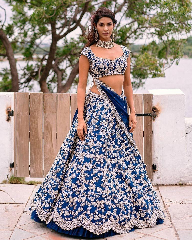 Blue Colored Party wear Embroidered Silk Lehenga Choli