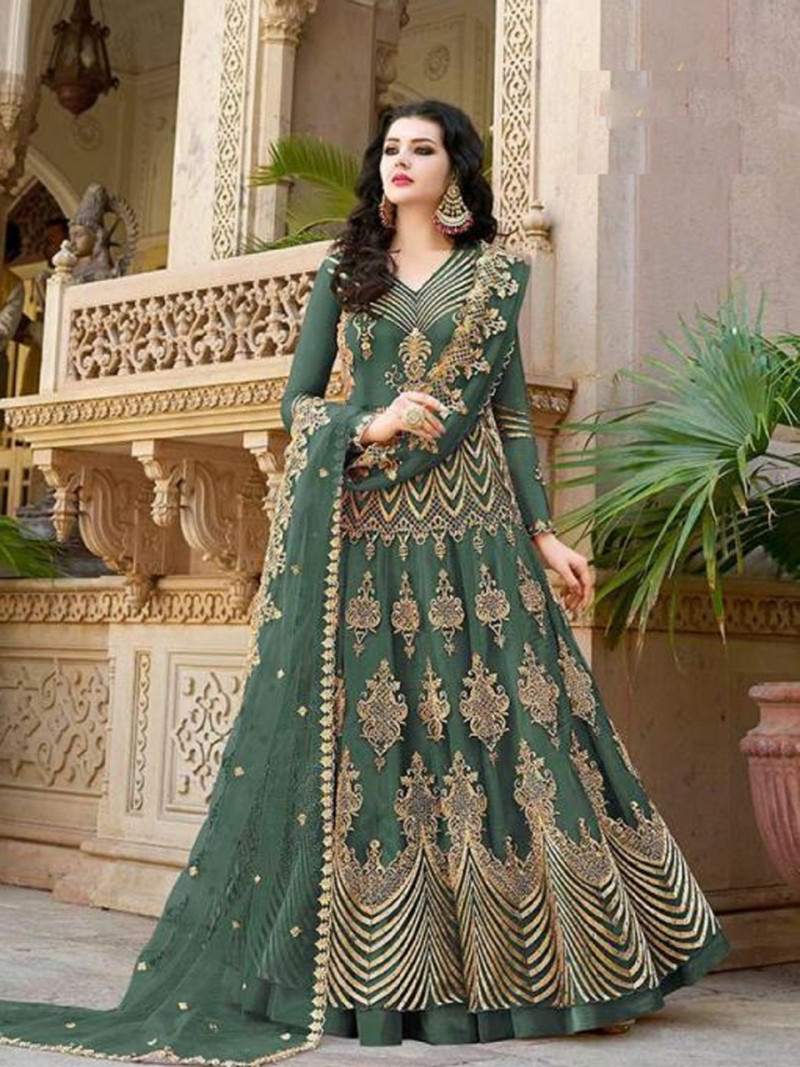 Mahendi Color Embroidery With Daimond Work Anarkali Suit