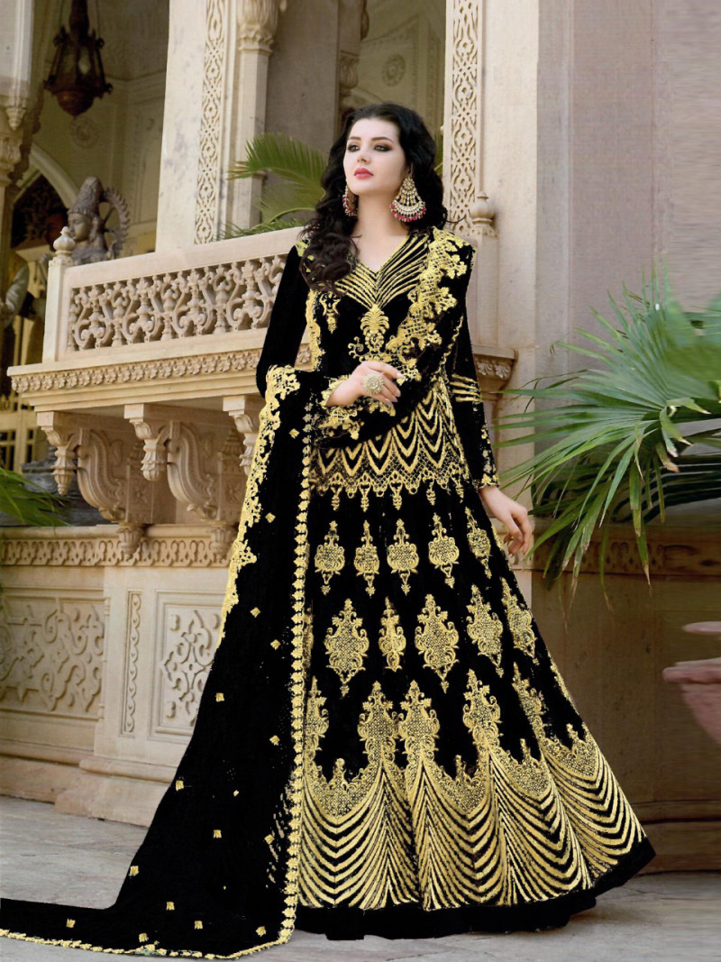 Black Color Wedding Wear Embroidered Anarkali Suit