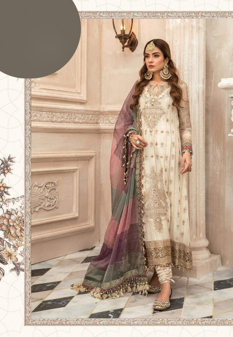 Latest Designer Off White Heavy Embroider Pakistani Salwar Suit