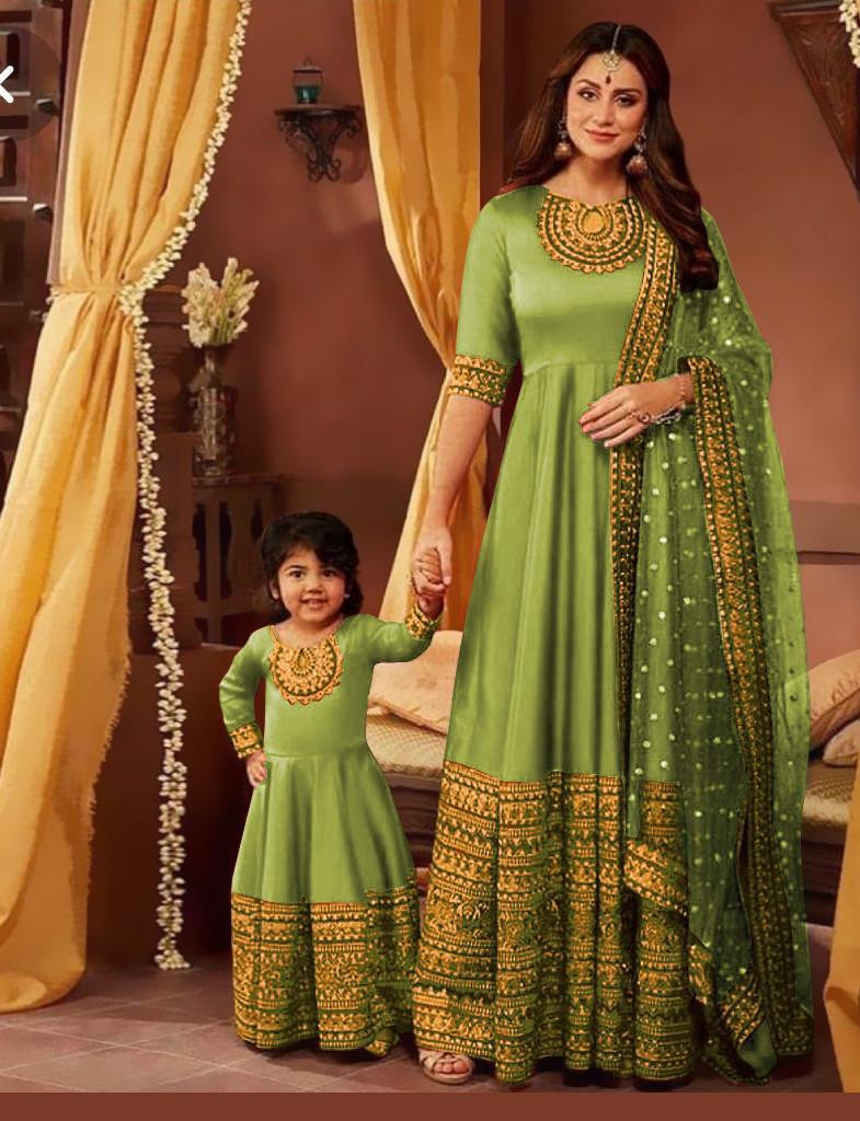 Green Party Wear Embroidery Work Mother And Daughter Designer Gown