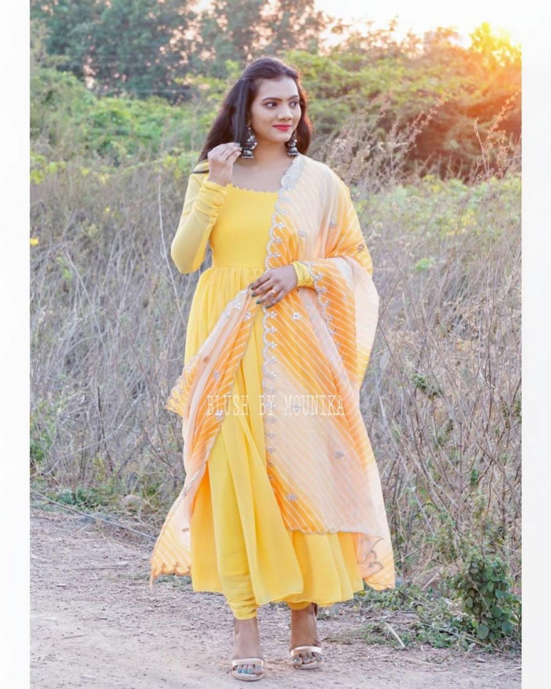 Latest Designer Party Wear Yellow Color Suit
