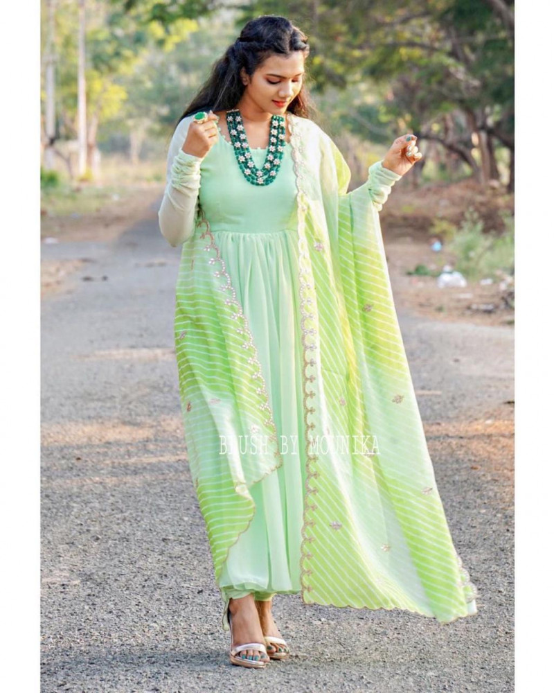 Ceremony Wear Green Color Georgette Suit