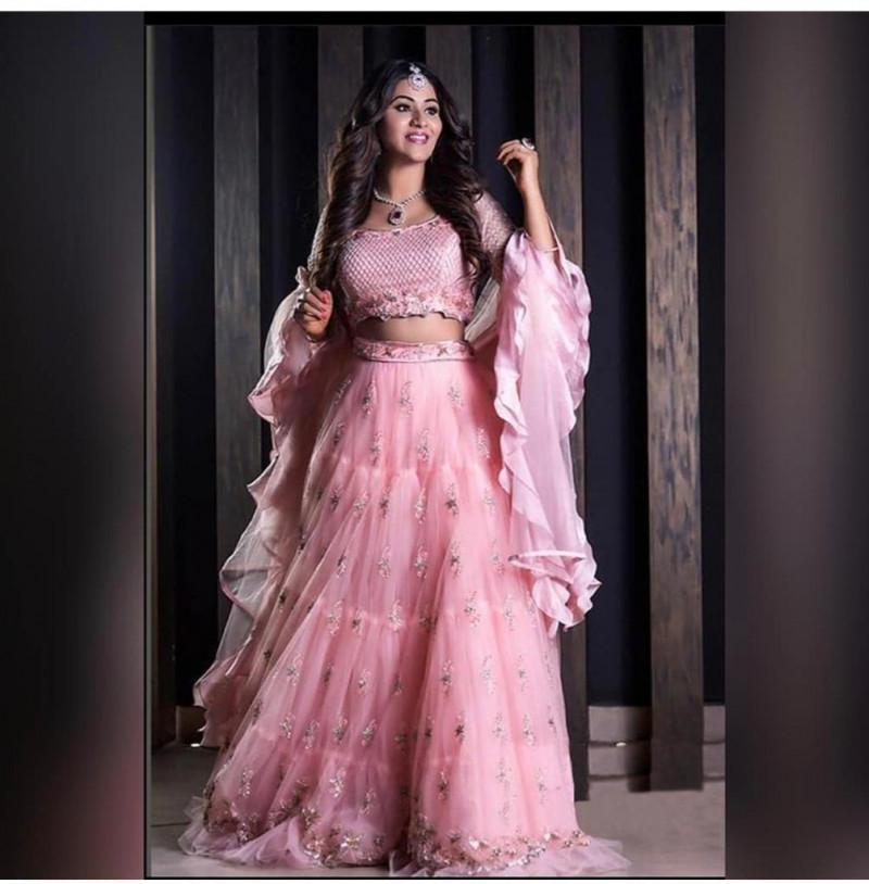 Pink Color Soft Net With Embroidery Work Lehenga Choli