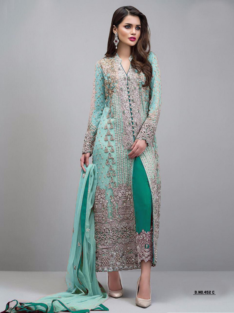 Wedding Wear Light Sea Green Color Georgette Salwar Suit