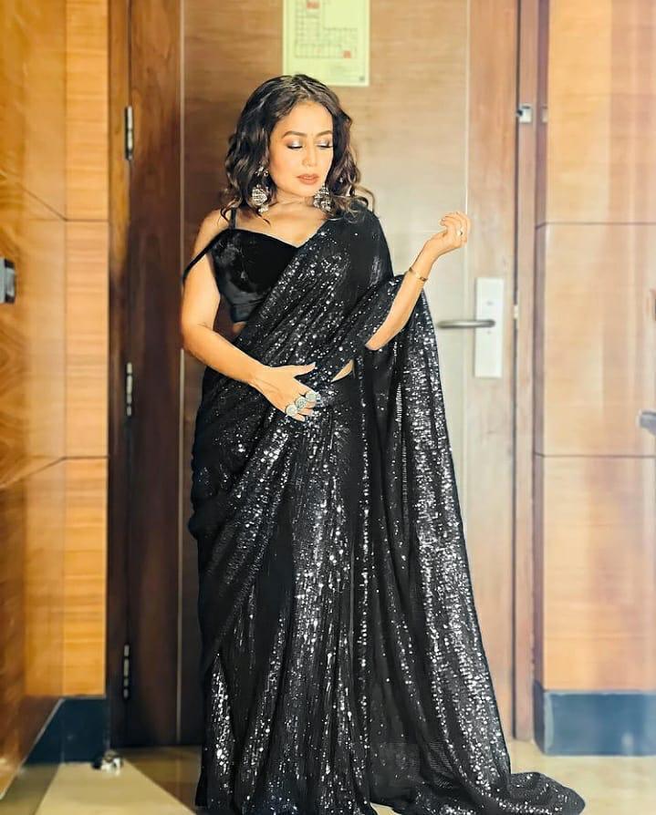 Bollywood Neha Kakkar Style Black Color Heavy Sequence Work Saree