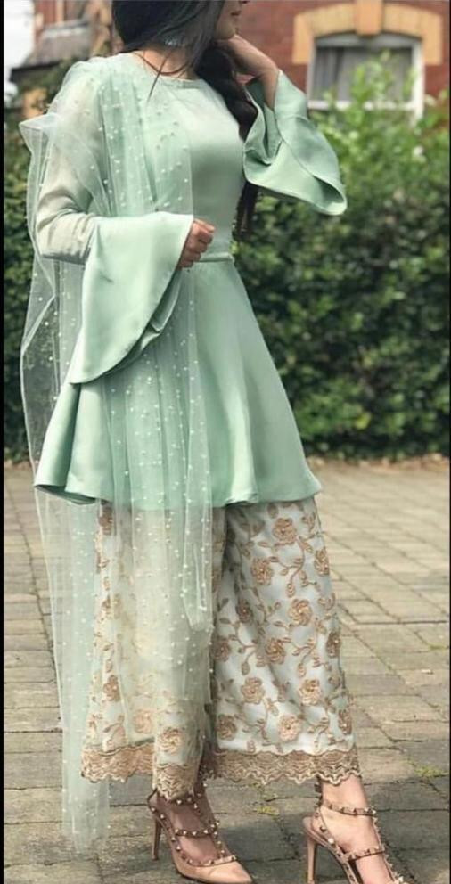 Fancy Sky Blue Color Top Palazzo With Dupatta