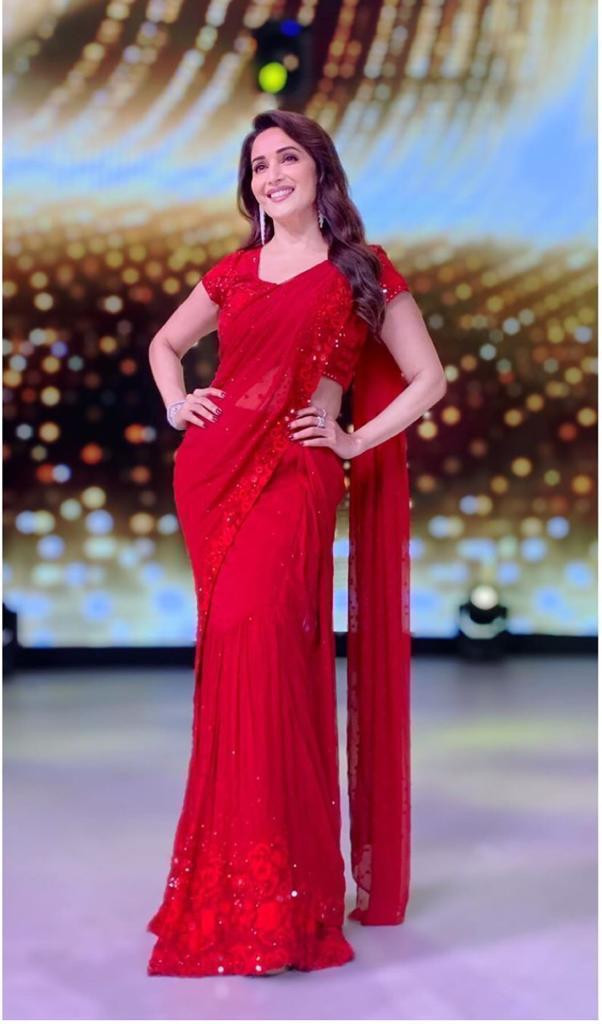 Bollywood Madhuri Dixit Style Red Color Embroidery Work Saree