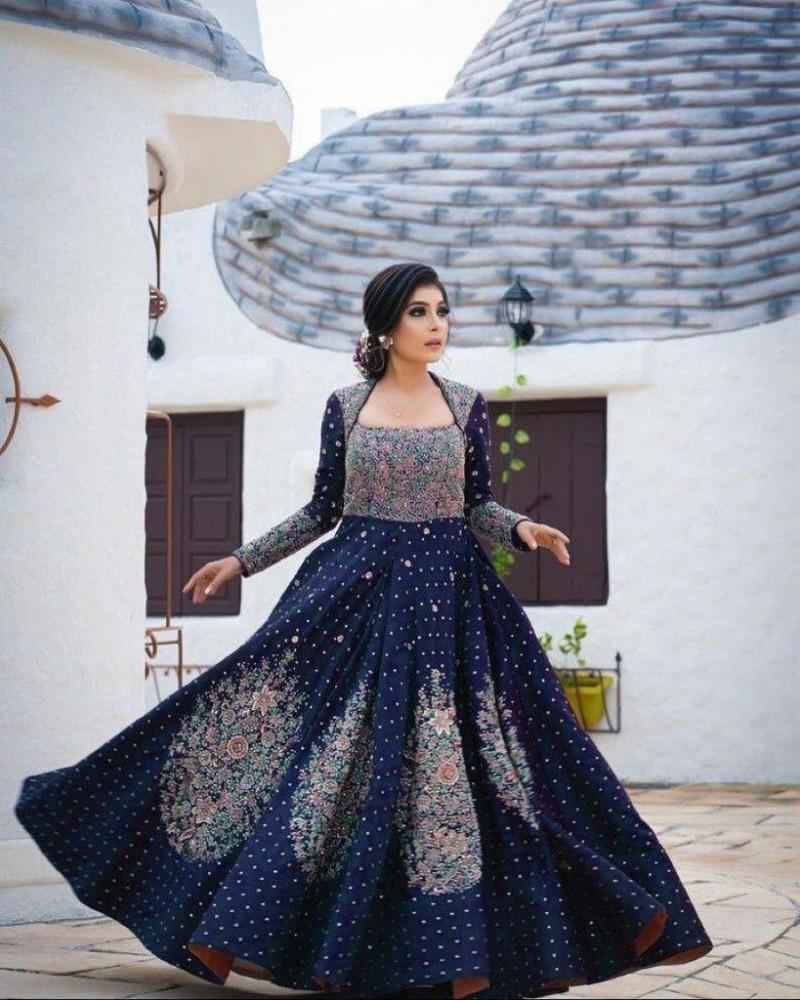 Navy Blue Color Latest Designer Wedding Gown