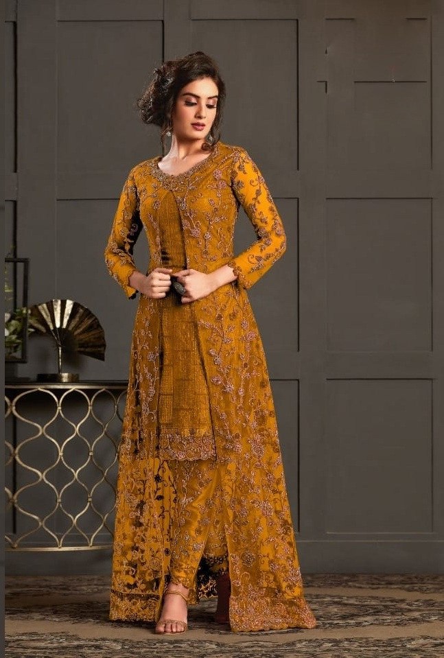 Beautiful Designer Yellow Color Net With Embroidery Work Salwar Suit
