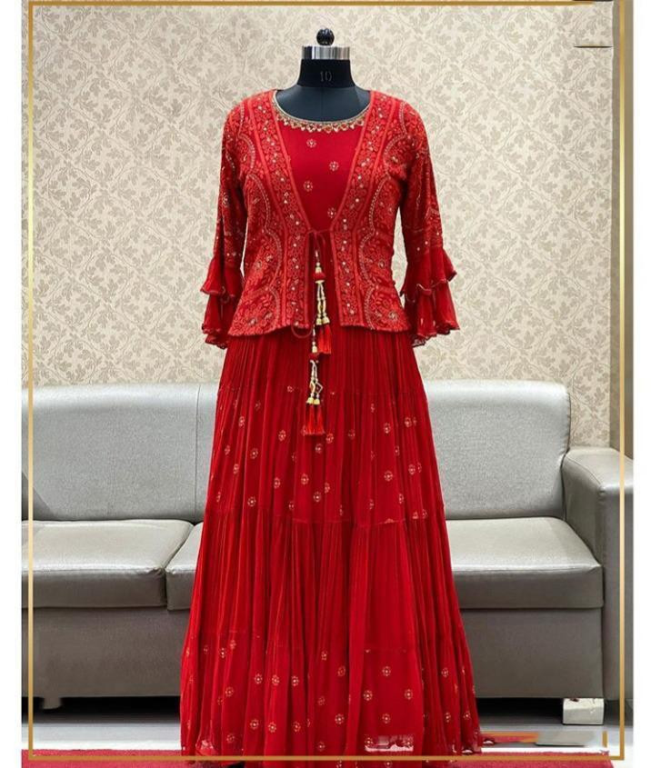 Designer Evening Wear Red Color Heavy Work Gown With Koti