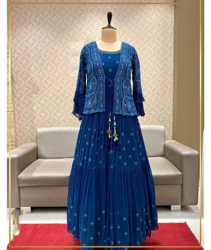 Designer Evening Wear Blue Color Heavy Work Gown With Koti